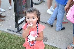 Young girl with snow cone